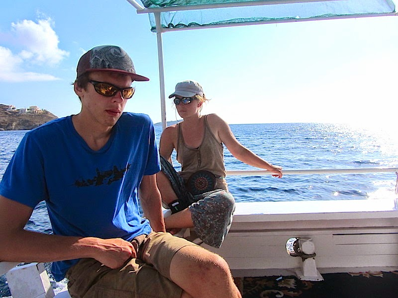 Martynas and Vilija on the boat to Telendos island