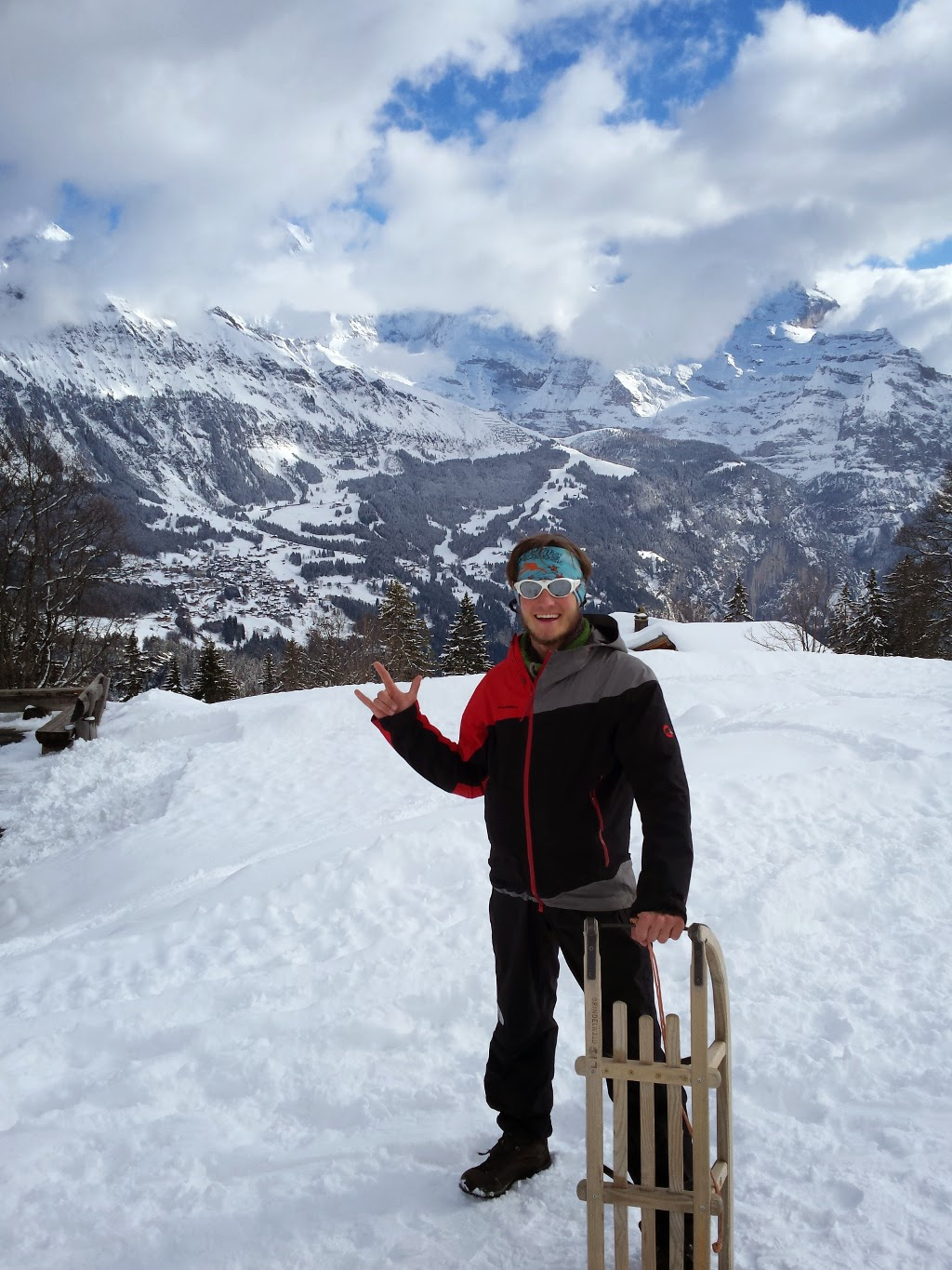 Sledding in front of The Eiger Nordwand
