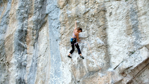 "Laura dancing on ""Mancha Roja"" (7c) at Cicera"