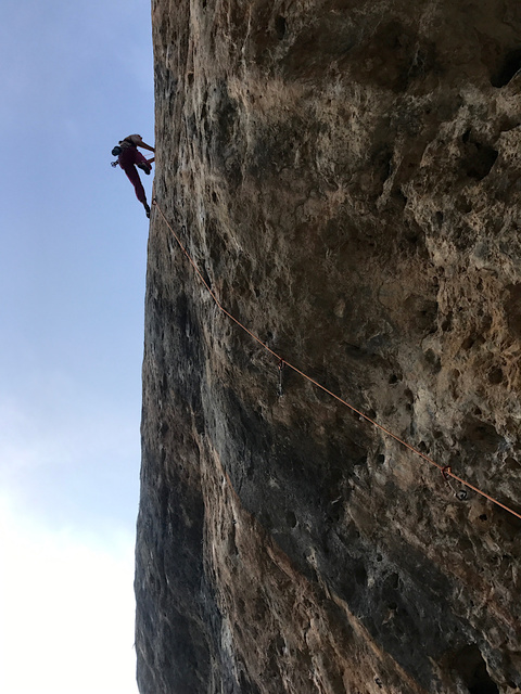 Laura going up on Turbulence (7b+)
